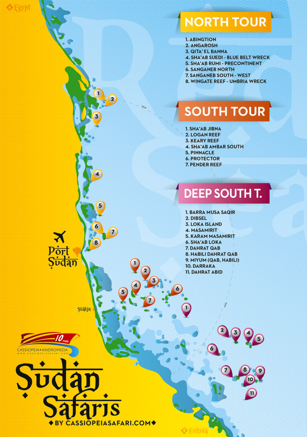 Dive sites in the Sudanese Red Sea