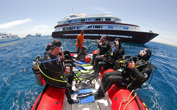 scuba diving from zodiac